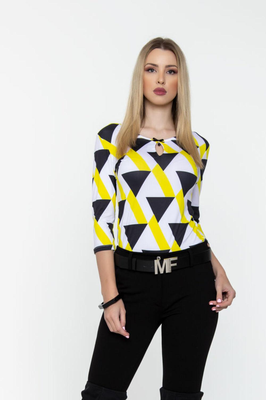 Mira póló - citrom/fekete/fehér geometriai mintás