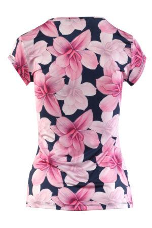 Masnis, lyukas dekoltázsú póló - rózsaszín mintás