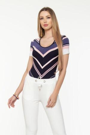 Perla póló - púder/kék/ fehér