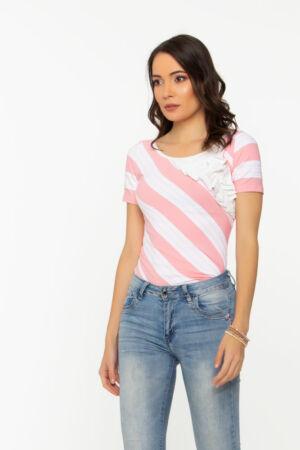 Allegra póló - rózsaszín csíkos