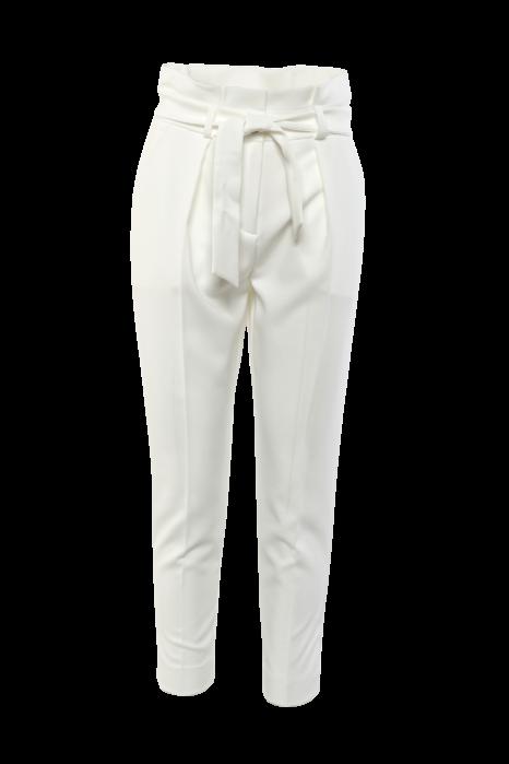 Rakott derekú öves nadrág - Fehér