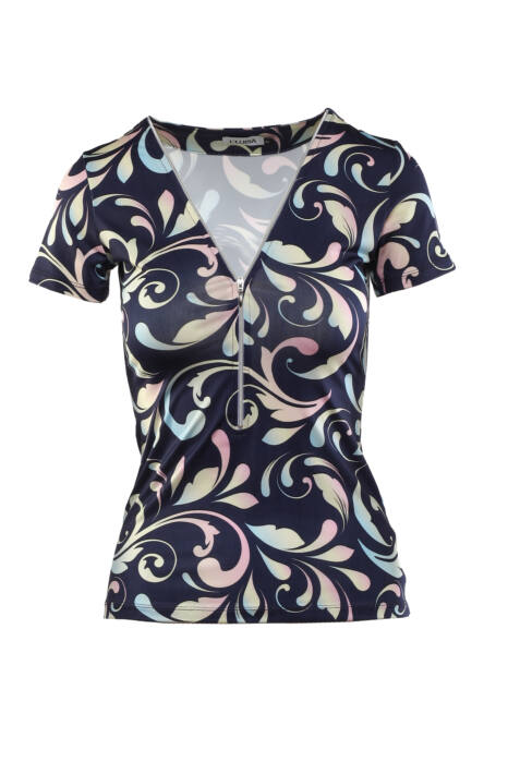 Cippes dekoltázsú szivárványmintás póló