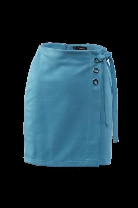 Velúr hatású ringlis szoknya - Kék