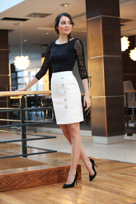 5 gombos textilbőr szoknya - Fehér