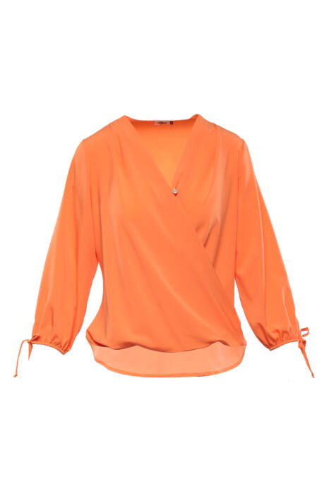 Átlapolt, csavart aljú, puffos ujjú blúz - Narancs