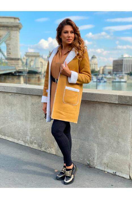 Roxána kabát - Mustársárga/fehér szőr