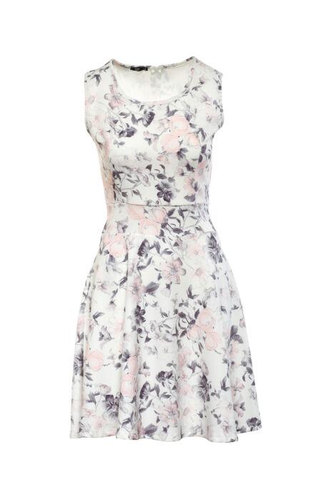 Fehér alapon rózsaszín és grafitszürke mintás midi ruha