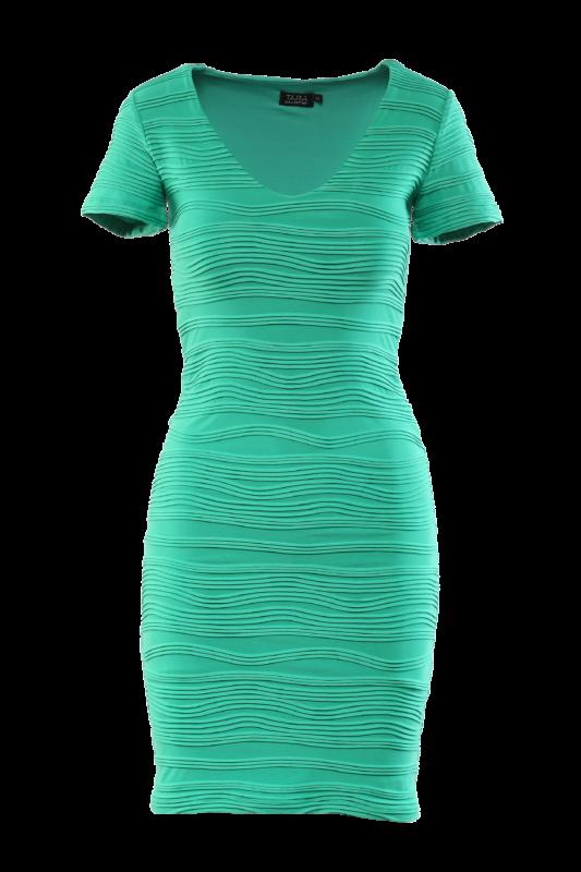 V dekoltázsú rövidujjú ruha - Zöld