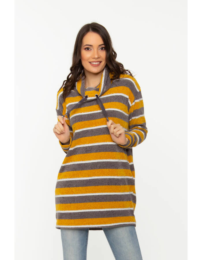 Helga pulóver- mustár/szürke/fehér/lurex csíkos
