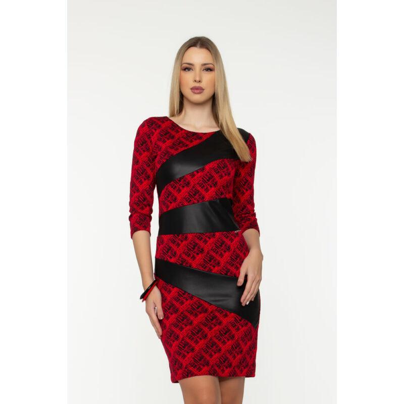 Sugár ruha - piros/fekete