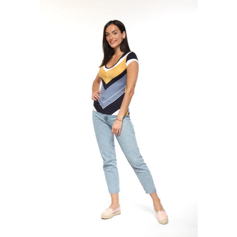 Színes csíkos póló - sárga, fehér, kék